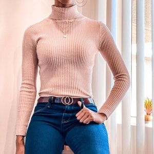Rose Ribbed Turtle Neck Sweater
